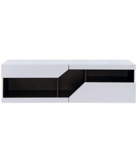 ZOOM Meuble TV contemporain blanc et noir brillant - L 160 cm