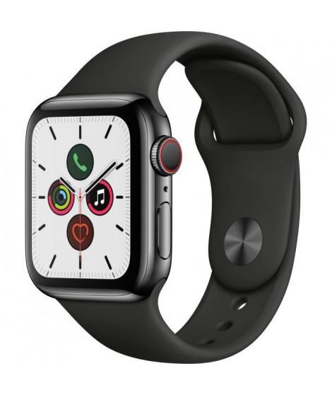 Apple Watch Series 5 Cellular 40 mm Boîtier en Acier Inoxydable Noir Sidéral avec Bracelet Sport Noir - S/M