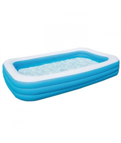 BESTWAY Piscine gonflable de luxe pour enfant et famille - Bleu - 3 boudins - 305x183x56 cm