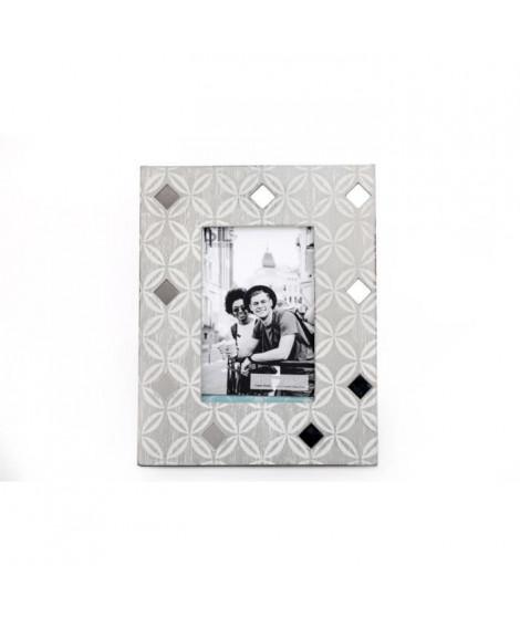 Cadre photo géo - Effet strass - 10 x 15 cm - Gris