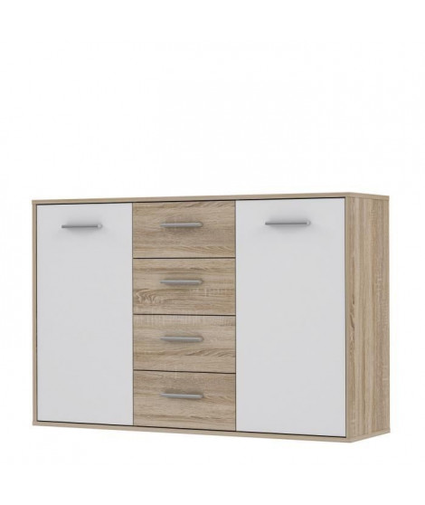 PILVI Buffet bas 2 portes 4 tiroirs - Blanc et chene sonoma - L 122,6 x P 34,2 H 88,1 cm