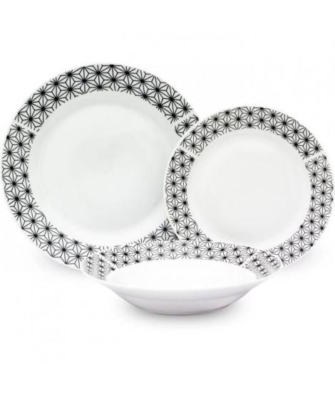 Service de Table 18 pieces en porcelaine formes géométriques noir et blanc