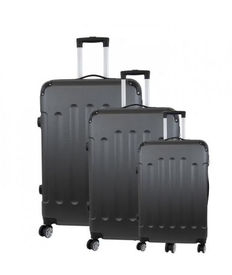 CITY BAG 06 Set de 3 Valises Trolley Rigide ABS - 8 Roues - 50-60-70 cm - Gris foncé