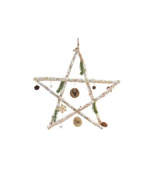 Etoile de Noël en bois - 60 x 60 cm - Enneigé