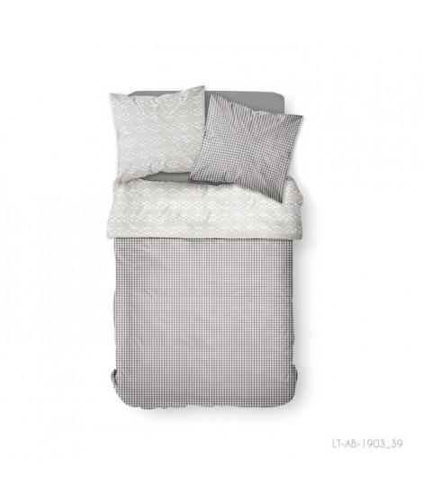 Parure de lit 2 personnes 240X260 Coton imprime gris Floral SUNSHINE