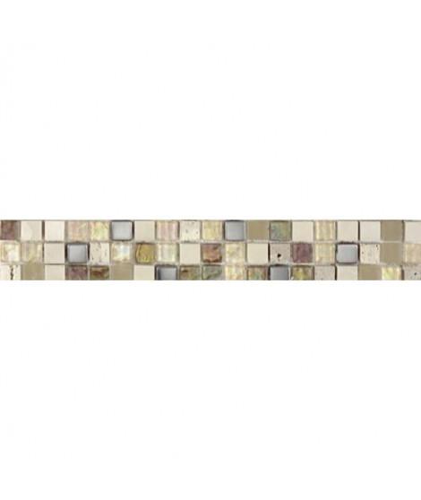 Listel en pate de verre et pierre naturelle -5 x 30 cm - Beige