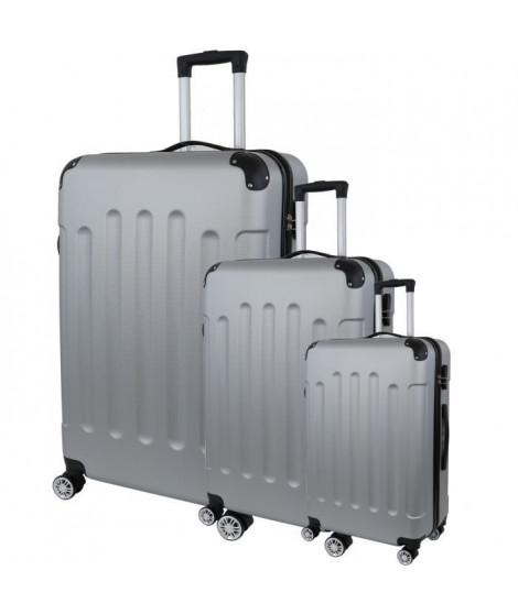 CITY BAG 06 Set de 3 Valises Trolley Rigide ABS - 8 Roues - 50-60-70 cm - Argent