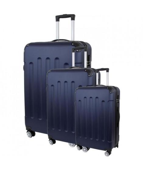 CITY BAG 06 Set de 3 Valises Trolley Rigide ABS - 8 Roues - 50-60-70 cm - Bleu marine