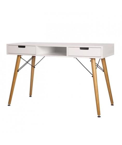TWIN Bureau 2 tiroirs - Blanc - L 120 x P 55 x H 73 cm