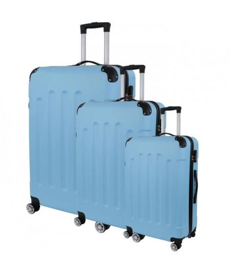 CITY BAG 06 Set de 3 Valises Trolley Rigide ABS - 8 Roues - 50-60-70 cm - Bleu ciel