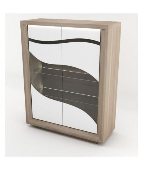 VENETO Vitrine 2 portes - Style Contemporain - L 130 x P 50 x H 165 cm