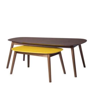 JASON Set de 2 Tables basses - Imitation bois - L 120 x P 70 x H 43 cm