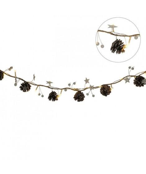 AUTOUR DE MINUIT Guirlande pommes de pin et étoiles - 20 LED - Blanc chaud - L 115cm