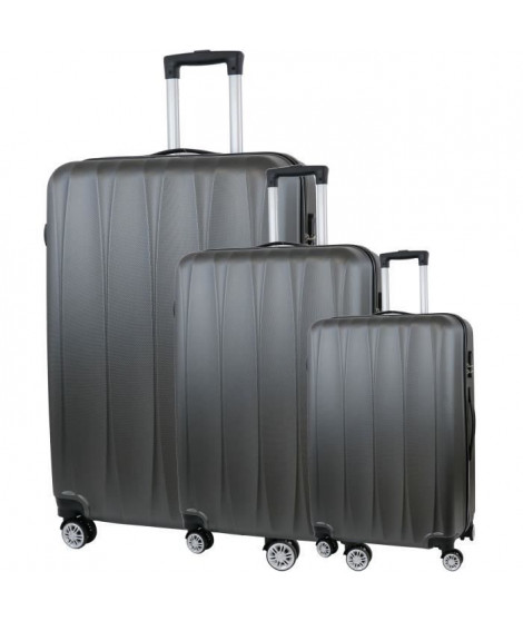 CITY BAG 03 Set de 3 Valises Trolley Rigide ABS - 8 Roues - 50-60-70 cm - Gris foncé