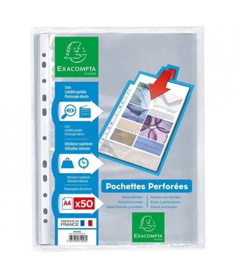 EXACOMPTA - 50 Pochettes perforées - 21 x 29,7 - Polypropylene lisse incolore 55µ - 11 trous - Sous film