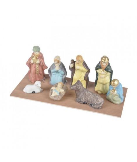 AUTOUR DE MINUIT Scene nativité 8 santons porcelaine - H 6,5cm
