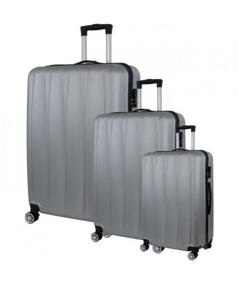 CITY BAG 03 Set de 3 Valises Trolley Rigide ABS - 8 Roues - 50-60-70 cm - Argent