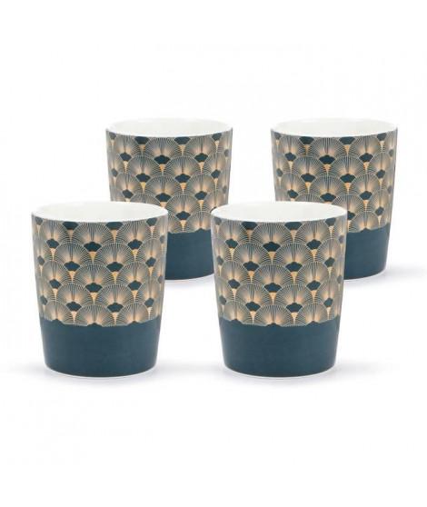 ABS T1904311-GX set de 4 tasses tisane en porcelaine forme V sans anse avec decal en or 26cl - Theme bleu artdeco