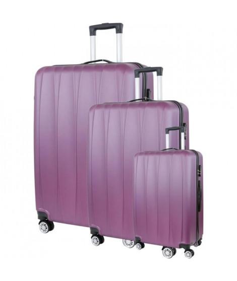 CITY BAG 03 Set de 3 Valises Trolley Rigide ABS - 8 Roues - 50-60-70 cm - Rouge bordeaux