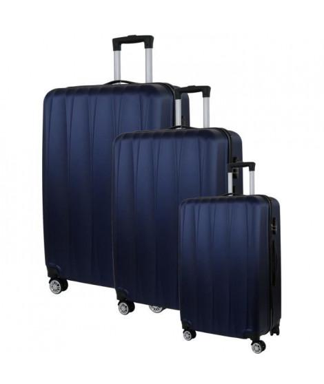 CITY BAG 03 Set de 3 Valises Trolley Rigide ABS - 8 Roues - 50-60-70 cm - Bleu marine
