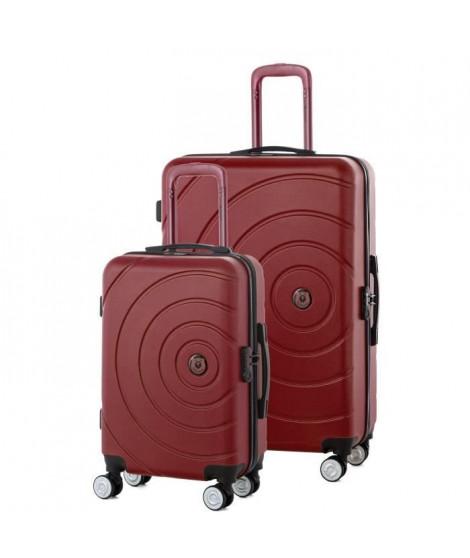 TEDDY BEAR Lot de 2 Valises Trolley Rigide ABS - 8 Roues - 50-70 cm - Rouge