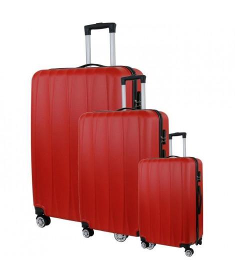 CITY BAG 03 Set de 3 Valises Trolley Rigide ABS - 8 Roues - 50-60-70 cm - Rouge