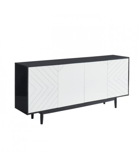 ECLIPSE Buffet L 180 cm avec 4 portes - Décor noir et blanc