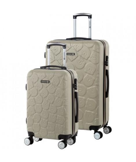 TEDDY BEAR Ensemble de 2 valises rigides: Cabine et Maxi 55/75cm OR