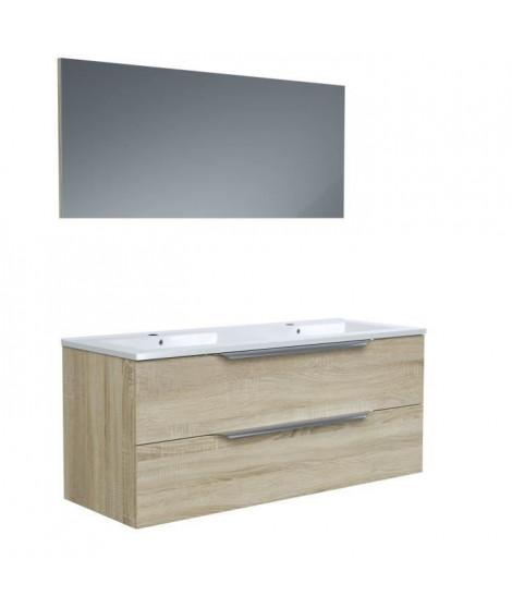 Ensemble Meuble salle de bain L 120 - Vasque + 2 tiroirs + miroir - Décor bois - ZOOM