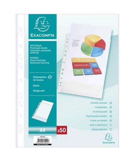 EXACOMPTA - 50 pochettes perforées - 21 x 29,7 - Polypropylene lisse incolore 42µ - 11 trous - Sous film