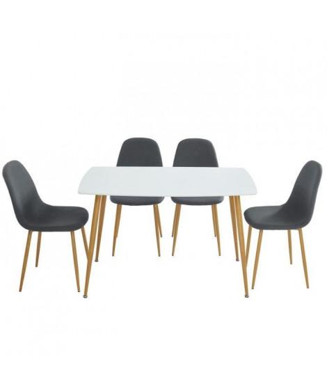 MATCHA Ensemble repas table + 4 chaises - Tissu gris - Style scandinave - L 120 x P 70 x H 75cm