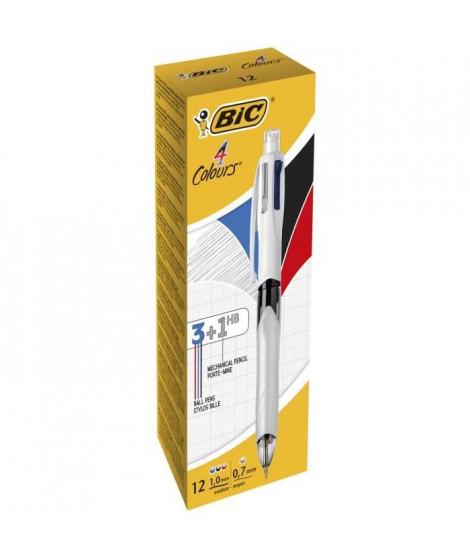 BIC 4 Couleurs 3+1HB Stylos-Bille Rétractables Pointes Moyennes (1,0 mm) et Porte-Mines - Boîte de 12