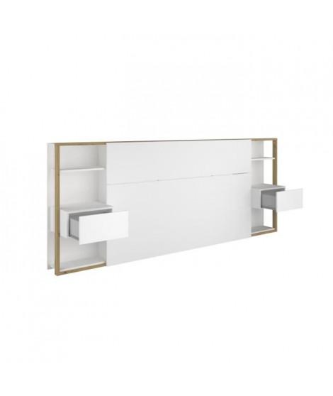 Tete de Lit avec étageres + chevets - Décor chene artisan et blanc - L 255 x P 36 x H 103 cm - WHITE
