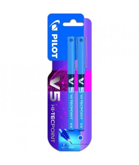 PILOT - Roller encre liquide V5 Fin - Encre bleue - x2 - PRIX CHOC