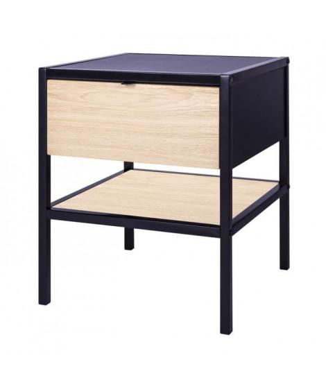 MINSK Table d'appoint 1 tiroir - Imitation bois - L 45 x P 45 x H 50 cm