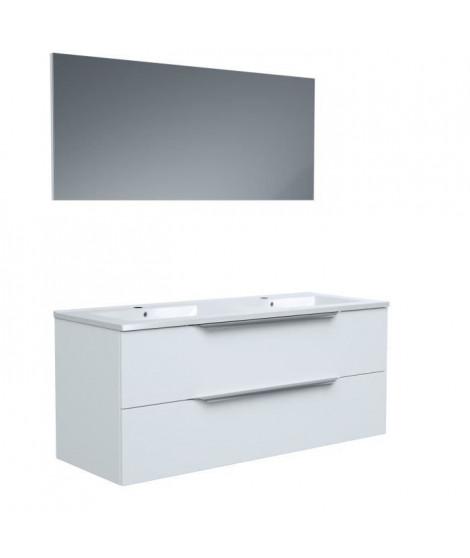 Ensemble Meuble salle de bain L 120 - Vasque + 2 tiroirs + miroir - Blanc - ZOOM