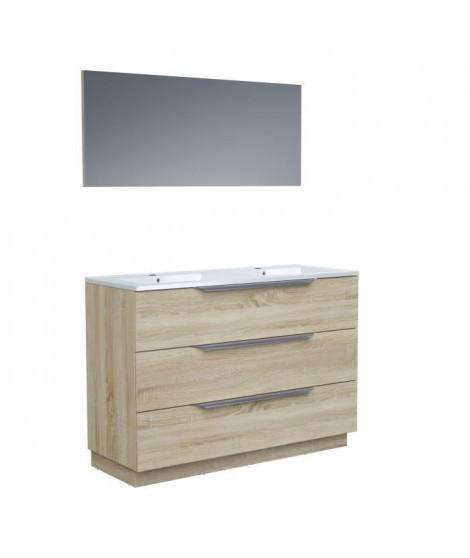 Ensemble Meuble salle de bain L 120 - Vasque + 3 tiroirs + miroir - Décor bois - ZOOM