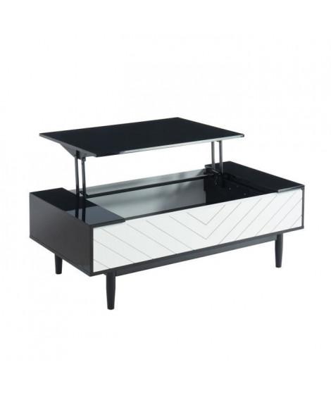 ECLIPSE Table basse L 120 cm avec plateau relevable - Décor noir et blanc