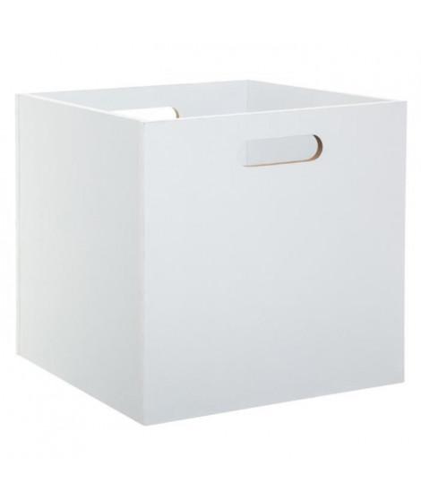 Boîte de rangement pliable en bois - 31 x 31 cm - Blanc