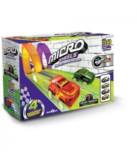 SPLASH-TOYS Pack de micro voiture wheels super - 2 loops + 2 garages + 4 voitures - Pour faire la course et des loopings