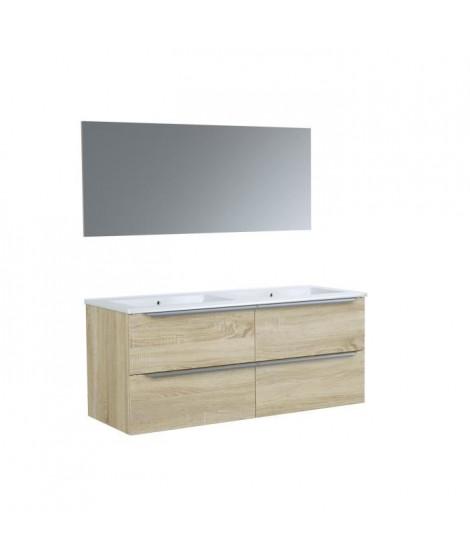 Ensemble meuble de de salle de bain L 120 - 4 tiroirs + Vasque céramique + miroir - ZOOM