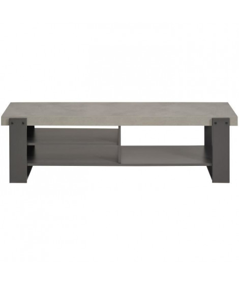 FACTORY Meuble TV bas industriel décor béton et gris ombre - L 138 cm