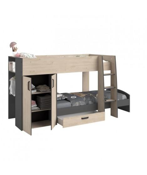Lits superposés enfant avec rangements - Décor Chene Jackson et Gris Ombre - Sommiers inclus - 2 x 90 x 200 cm - MIST