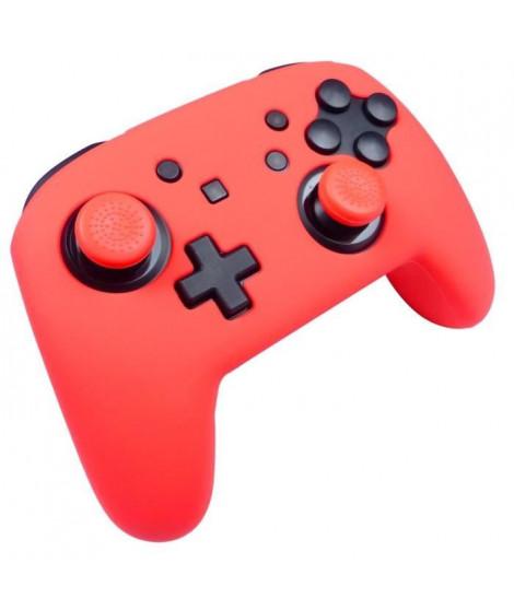 Protection en silicone rouge néon + caps Subsonic pour manette Nintendo Switch Pro Controller