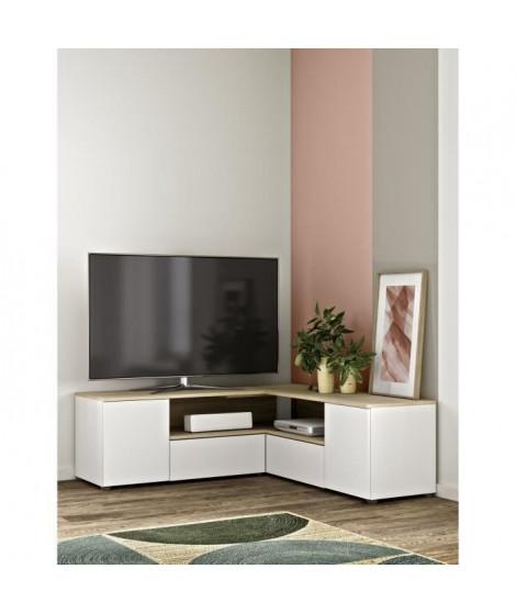 SYMBIOSYS Meuble TV ANGLE - Contemporain - Décor chene naturel et blanc - L 129,8 cm