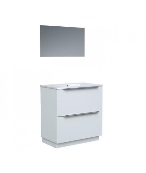 Ensemble Meuble salle de bain sur socle L 80 - Vasque + 2 tiroirs + miroir - Blanc - ZOOM