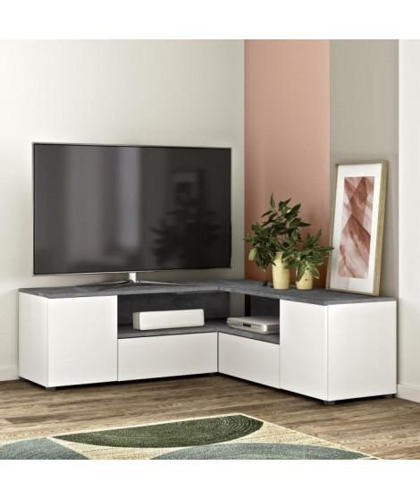 Meuble TV d'angle 4 portes - Effet béton et blanc - L 130 x P 130 x H 46 cm