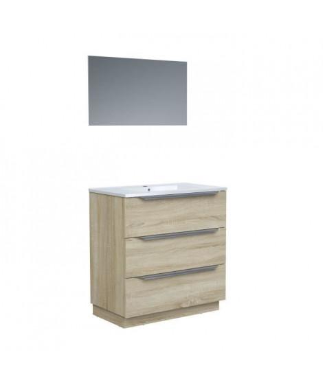 Ensemble Meuble salle de bain sur socle L 80 - Vasque + 3 tiroirs + miroir - ZOOM