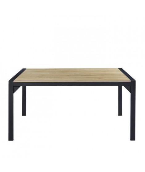 TEXAS Table a manger de 6 a 8 personnes style industriel décor chene + pieds en métal noir laqué - L 160 x l 90 cm