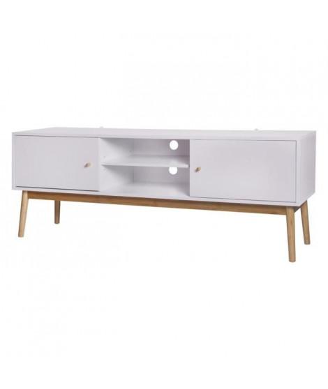 HOKKAIDO Meuble TV 2 portes - Blanc - L 150 x P 42 x H 55 cm